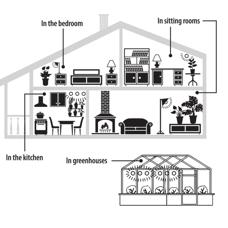Diagram of where to use Norb Botanic in the home.