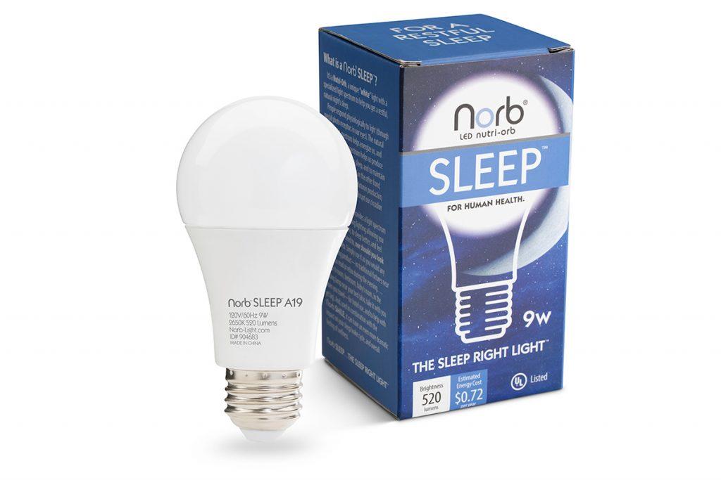 NorbSLEEP A19 LED light bulb and packagin