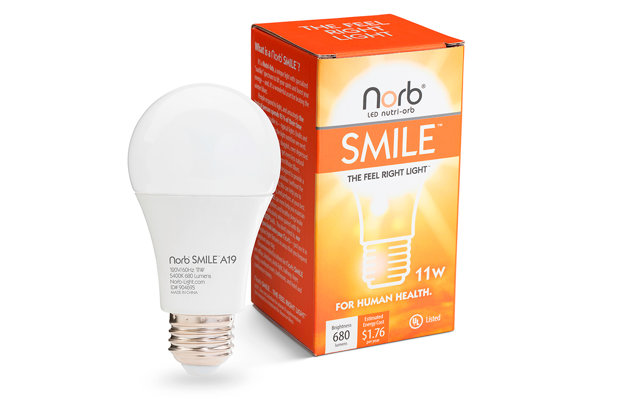 NorbSMILE A19 bulb and packaging.