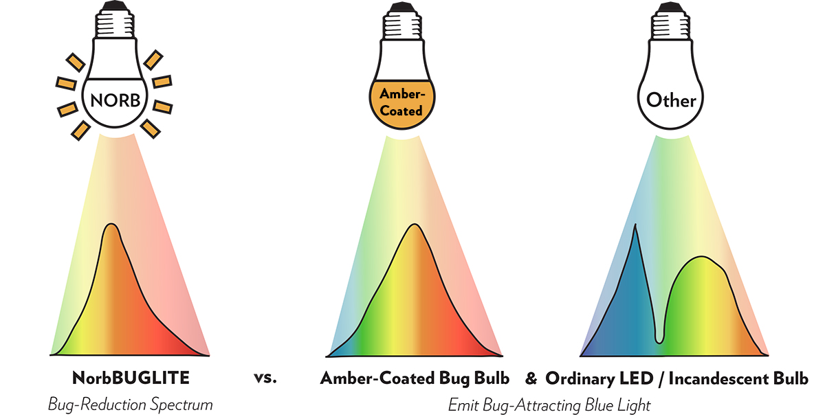 NorbBUGLITE spectrum compared to amber-coated bulbs and ordinary LED/incandescent bulbs