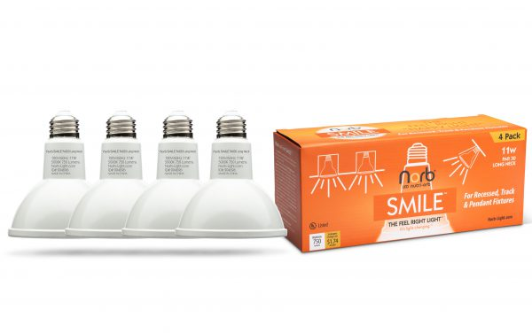 NorbSMILE PAR30 Long Neck SAD light bulbs for recessed lighting - 4 Pack.