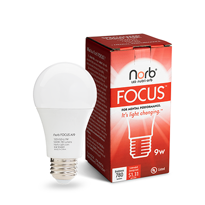 NorbFOCUS A19 Bulb and Box