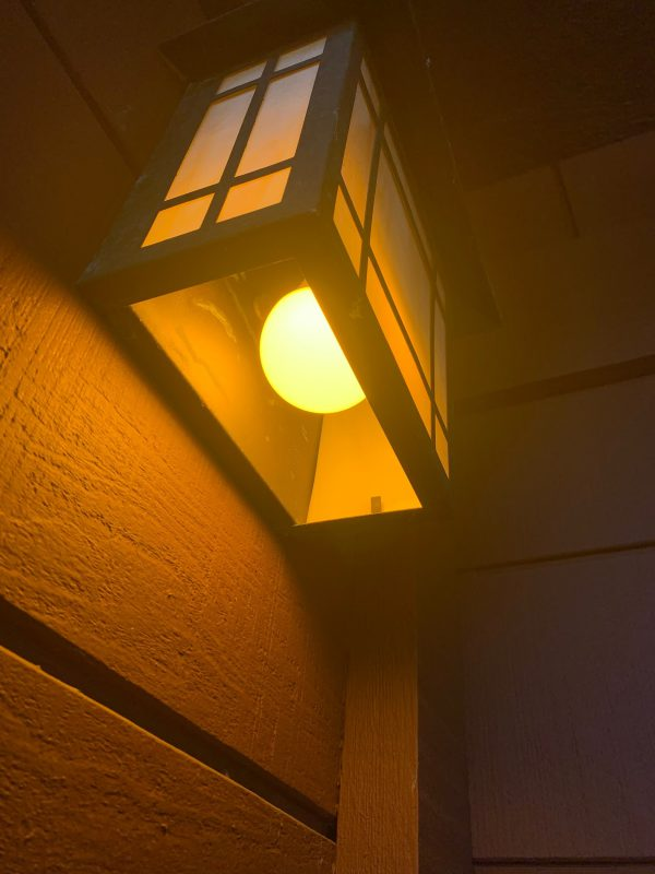 NorbBUG LITE specialized bug-free yellow LED light bulb in an outdoor fixture