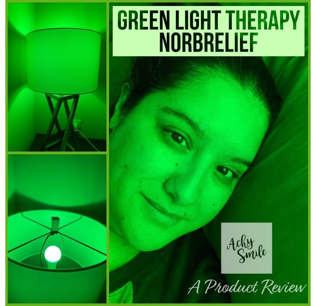 Erica at Achy Smile blog using her anti-migraine NorbRELIEF green LED light.