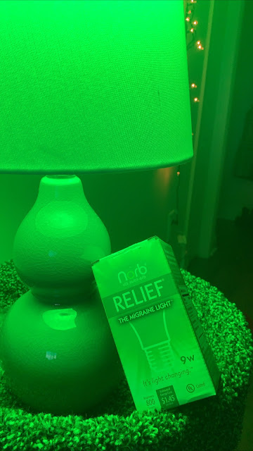 NorbRELIEF box underneath a lamp using the green bulb